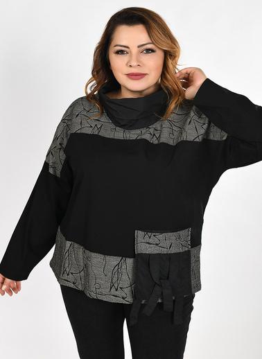 WHIP Design Desenli Degaje Yaka Uzun Kol Pamuk Bluz Siyah